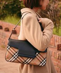 Burberrys/ nova check & leather hand bag.