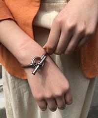 HERMES/ vintage ring leather bracelet(S×BROWN).  430010C