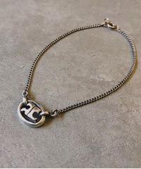 courreges/vintage silver logo bracelet.