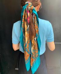 Christian Dior/vintage  green design silk scarf.