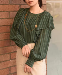 See by Chloe/ vintage stripe frill  blouse.