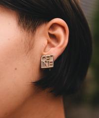 CELINE/vintage logo silver earring.