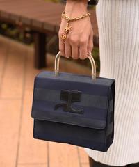 Courreges/vintage border clear hand bag.