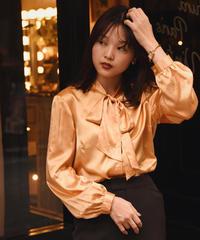 Paris vintage/ satin bowtie blouse.
