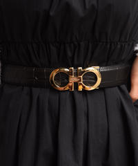 Salvatore Ferragamo/ vintage leather gancini belt.