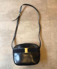 Salvatore Ferragamo/vintage black vara motif  shoulder bag.