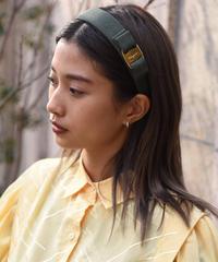 Salvatore Ferragamo/ vara ribbon headband.(green×gold)