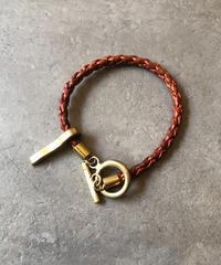 LOEWE/vintage leather×gold bracelet.
