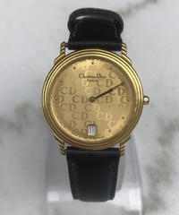 Christian Dior/ vintage gold ×leather quartz .090 (U)