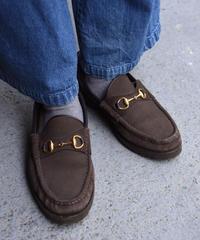GUCCI/ vintage suède platform  horsebit loafer.