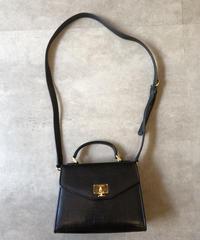 courreges/ vintage black leather  2way bag.