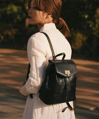 courreges/vintage logo leather black backpack .(S)