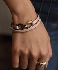 Salvatore Ferragamo/vintage leather gancini  2way bracelet.