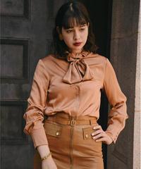 MaxMara/frill bowtie silk blouse.
