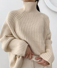(即納)High neck over knit