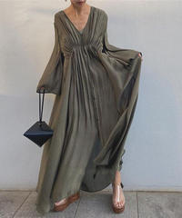Horn sleeve long dress