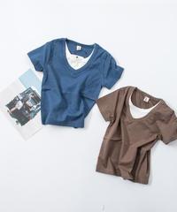 レイヤード風バックロゴTシャツ
