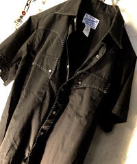 80,s U.S.A.製 Rockmount オールドモデルロカビリーテイスト オールブラックウエスタンシャツ