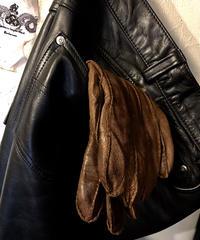 60,s vintageシボ革 EURO LEATHER GLOVE キャメルBROWNヴィンテージ美品