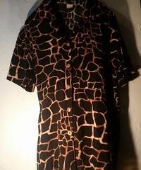 70,s MADE IN U.S.A. Rock'n Roll BLACK-giraffe pattem Shirt ヴィンテージ美品