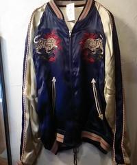 Unknown SUKA JACKET BLUE × CREAMべースTiger刺繍美品スペシャルプライス