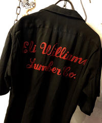 フィフティーズU.S.A. 希少『黒×赤』Rock'n Roll 刺繍&レアラウンド型ヴィンテージBOWLING  SHIRT目玉アイテム