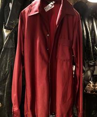〈目玉〉70,s MADE IN U.S.A. VAN HEUSEN オープンカラー Rock'n RollストレッチShirt WINE 黄金サイズヴィンテージ美品