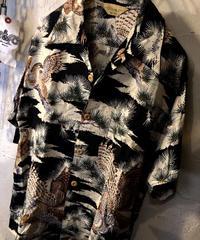 90年代EDWIN社 ブラックべースRAYON和柄シャツ
