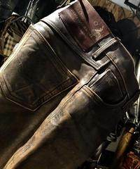 《超目玉》Aero Leather 最高級フロントクォーターホースハイドLEATHER PANTS エイジングBROWNスペシャルプライス