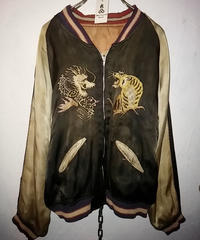 《超目玉》後世資料クラス1950,s貴重ブラックベースヴィンテージ SUKA JACKET Japan-Fuji DRAGON&TIGER