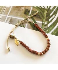 PEACHE ★ anklet & bracelet / gold sand stone