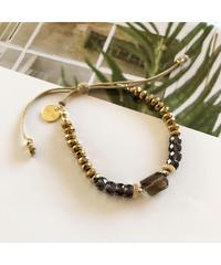 PEACHE ★ anklet & bracelet / smoky quartz hematite
