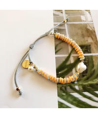 PEACHE ★ anklet & bracelet / pearl green amegist neon orange