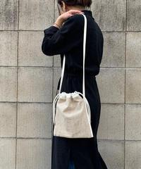 【B-20123】BEAURE ヴュレ コットンリネン 巾着 ショルダー