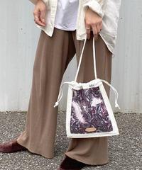 【B-20117】BEAURE ヴュレ カウレザー × クリア × ペイズリー 巾着 ショルダー