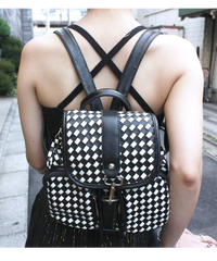 【Used】Check leather bag/チェックレザーバック