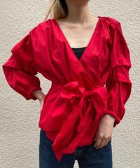 【Used】Cache-coeur design sleeve tops / カシュクールデザインスリーブトップス/ AUT-10