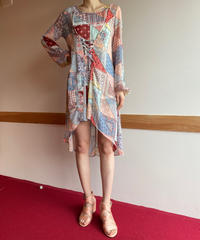 【Used】Patchwork print asymmetry one piece / パッチワークプリントワンピース