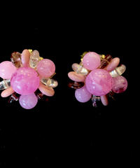 【Vintage】Pink stone flower Earrings/ ピンクフラワーイヤリング