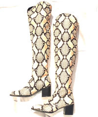 【Selected Item】Python long boots / パイソンプリントニーハイブーツ / mg-292