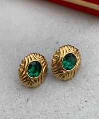 "【Vintage】""Monet"" Bijou earring ""Green"" / ビジューイヤリング"