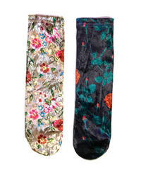 【Selected item】Velours flower socks / 花柄ベロアソックス