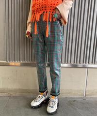 """【Used】""""LPA"""" PVC coated check pants  / PVC加工チェック柄パンツ"""