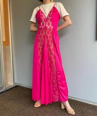 【Vintage】Shocking pink lace maxi slip dress / ショッキングピンクマキシ丈スリップドレス