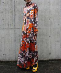 【Vintage】1970's Flower pattern zip up long one  piece / 1970年代花柄ワンピース
