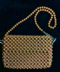 【 Vintage】Braided brown beads shoulder bag / 編みビーズショルダーバッグ
