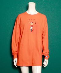 【bed】Original print long sleeve T shirt / Neon orange