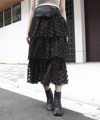 【migration】Hearts patten tulle tiered skirt / ハート柄チュールティアードスカート