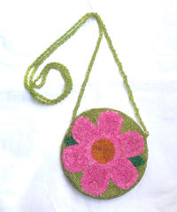 【Used】Flower beads mini pouch / 花柄ビーズミニポーチ