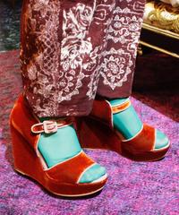 """【Used】""""PELLICO SUNNY""""Velvet  wedge sole sandal /ベルベットウエッジソールサンダル"""